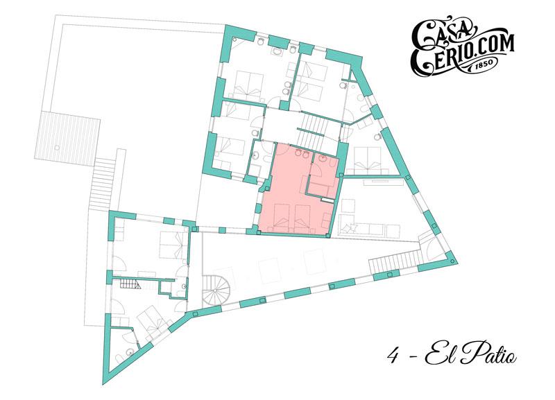 Casa Cerio - Casa Rural en Navarra - Habitaciones - El Patio