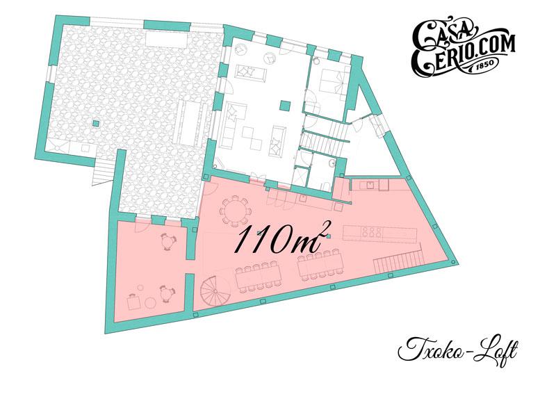 Casa Cerio - Casa Rural en Navarra - Habitaciones - Txoko-Loft